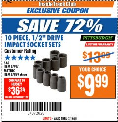 "Harbor Freight ITC Coupon 10 PIECE 1/2"" DRIVE IMPACT SOCKET SET Lot No. 67917/67899 Expired: 7/17/18 - $9.99"