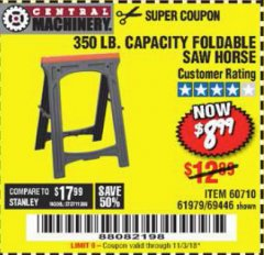Harbor Freight Coupon 350 LB. CAPACITY FOLDING SAWHORSE Lot No. 69446/60710/61979 Expired: 11/3/18 - $8.99