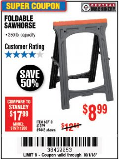 Harbor Freight Coupon 350 LB. CAPACITY FOLDING SAWHORSE Lot No. 69446/60710/61979 Expired: 10/1/18 - $8.99