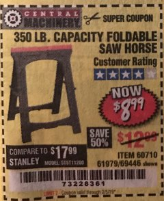 Harbor Freight Coupon 350 LB. CAPACITY FOLDING SAWHORSE Lot No. 69446/60710/61979 Expired: 2/5/19 - $8.99