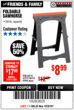 Harbor Freight Coupon 350 LB. CAPACITY FOLDING SAWHORSE Lot No. 69446/60710/61979 Expired: 12/9/18 - $8.99