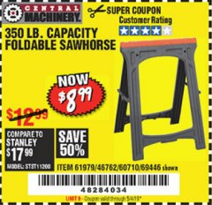 Harbor Freight Coupon 350 LB. CAPACITY FOLDING SAWHORSE Lot No. 69446/60710/61979 Expired: 5/4/19 - $8.99