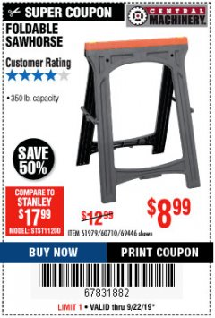 Harbor Freight Coupon 350 LB. CAPACITY FOLDING SAWHORSE Lot No. 69446/60710/61979 Expired: 9/22/19 - $8.99