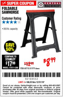 Harbor Freight Coupon 350 LB. CAPACITY FOLDING SAWHORSE Lot No. 69446/60710/61979 Expired: 12/31/19 - $8.99