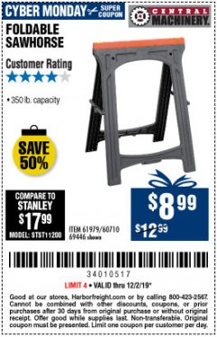 Harbor Freight Coupon 350 LB. CAPACITY FOLDING SAWHORSE Lot No. 69446/60710/61979 Expired: 12/2/19 - $8.99