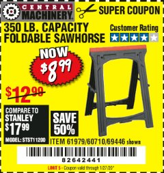 Harbor Freight Coupon 350 LB. CAPACITY FOLDING SAWHORSE Lot No. 69446/60710/61979 Expired: 1/27/20 - $8.99