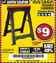 Harbor Freight Coupon 350 LB. CAPACITY FOLDING SAWHORSE Lot No. 69446/60710/61979 Expired: 6/30/20 - $9