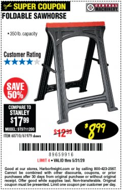 Harbor Freight Coupon 350 LB. CAPACITY FOLDING SAWHORSE Lot No. 69446/60710/61979 Expired: 6/30/20 - $8.99
