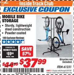 Harbor Freight ITC Coupon MOBILE BIKE STORAGE Lot No. 61231 Expired: 3/31/20 - $37.99