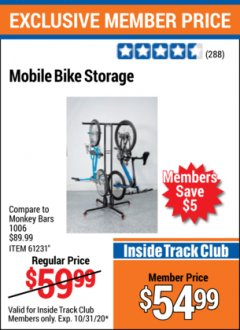 Harbor Freight ITC Coupon MOBILE BIKE STORAGE Lot No. 61231 Valid Thru: 10/31/20 - $54.99
