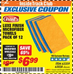 "Harbor Freight ITC Coupon 16"" X 16"" LUXE FINISH MICROFIBER TOWELS PACK OF 12 Lot No. 63359/63251/63028 Expired: 2/29/20 - $6.99"