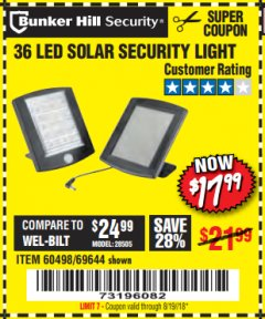Harbor Freight Coupon 36 LED SOLAR SECURITY LIGHT Lot No. 69644/60498/69890 Expired: 8/19/18 - $17.99