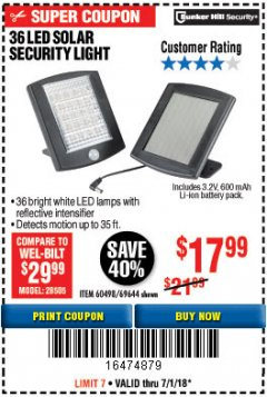Harbor Freight Coupon 36 LED SOLAR SECURITY LIGHT Lot No. 69644/60498/69890 Expired: 7/1/18 - $17.99