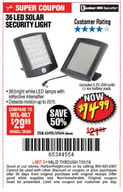 Harbor Freight Coupon 36 LED SOLAR SECURITY LIGHT Lot No. 69644/60498/69890 Expired: 7/31/18 - $14.99