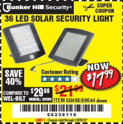 Harbor Freight Coupon 36 LED SOLAR SECURITY LIGHT Lot No. 69644/60498/69890 Expired: 10/28/18 - $17.99