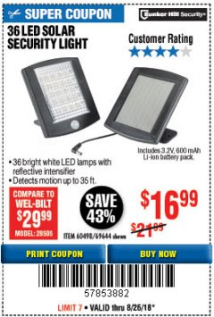 Harbor Freight Coupon 36 LED SOLAR SECURITY LIGHT Lot No. 69644/60498/69890 Expired: 8/26/18 - $16.99