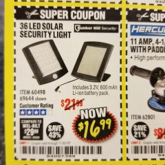 Harbor Freight Coupon 36 LED SOLAR SECURITY LIGHT Lot No. 69644/60498/69890 Expired: 11/30/18 - $16.99