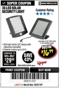 Harbor Freight Coupon 36 LED SOLAR SECURITY LIGHT Lot No. 69644/60498/69890 Expired: 10/31/18 - $16.99