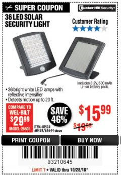Harbor Freight Coupon 36 LED SOLAR SECURITY LIGHT Lot No. 69644/60498/69890 Expired: 10/28/18 - $15.99