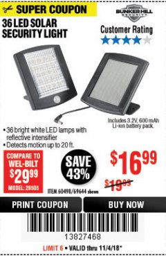 Harbor Freight Coupon 36 LED SOLAR SECURITY LIGHT Lot No. 69644/60498/69890 Expired: 11/4/18 - $16.99