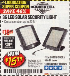 Harbor Freight Coupon 36 LED SOLAR SECURITY LIGHT Lot No. 69644/60498/69890 Expired: 5/31/19 - $15.99