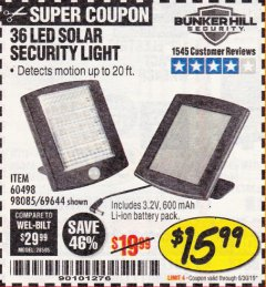 Harbor Freight Coupon 36 LED SOLAR SECURITY LIGHT Lot No. 69644/60498/69890 Expired: 6/30/19 - $15.99