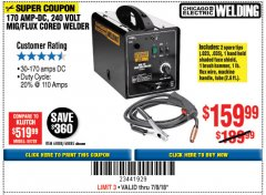 Harbor Freight Coupon 170 AMP MIG/FLUX WIRE FEED WELDER Lot No. 68885/61888 Expired: 7/8/18 - $159.99