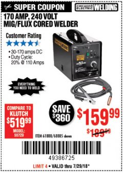 Harbor Freight Coupon 170 AMP MIG/FLUX WIRE FEED WELDER Lot No. 68885/61888 Expired: 7/29/18 - $159.99