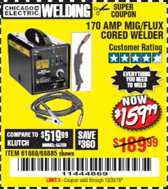 Harbor Freight Coupon 170 AMP MIG/FLUX WIRE FEED WELDER Lot No. 68885/61888 Expired: 10/30/18 - $159.99