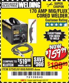 Harbor Freight Coupon 170 AMP MIG/FLUX WIRE FEED WELDER Lot No. 68885/61888 Expired: 5/31/19 - $159.99