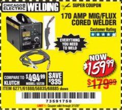 Harbor Freight Coupon 170 AMP MIG/FLUX WIRE FEED WELDER Lot No. 68885/61888 Expired: 2/1/20 - $159.99
