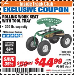 Harbor Freight ITC Coupon ROLLING WORK SEAT WITH TOOL TRAY Lot No. 62241/91495 Dates Valid: 12/31/69 - 6/30/20 - $44.99