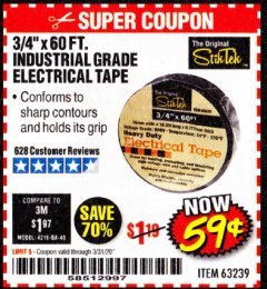 "Harbor Freight Coupon 3/4"" X 60 FT. INDUSTRIAL GRADE ELECTRICAL TAPE Lot No. 63239 Expired: 3/31/20 - $0.59"