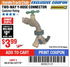Harbor Freight ITC Coupon TWO-WAY Y-HOSE CONNECTOR Lot No. 94376/63148 Expired: 8/27/19 - $3.99