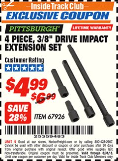 "Harbor Freight ITC Coupon 4 PIECE 3/8"" DRIVE IMPACT EXTENSION SET  Lot No. 67926 Expired: 8/31/18 - $4.99"