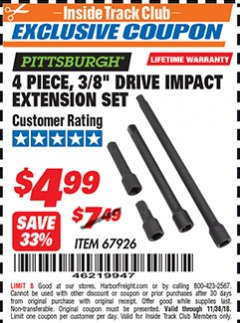 "Harbor Freight ITC Coupon 4 PIECE 3/8"" DRIVE IMPACT EXTENSION SET  Lot No. 67926 Expired: 11/30/18 - $4.99"
