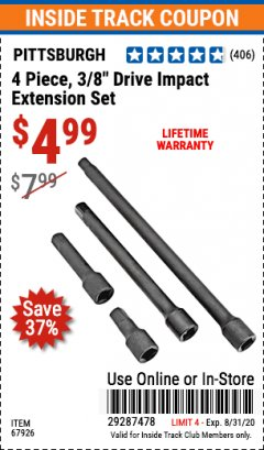 "Harbor Freight ITC Coupon 4 PIECE 3/8"" DRIVE IMPACT EXTENSION SET  Lot No. 67926 Expired: 8/31/20 - $4.99"