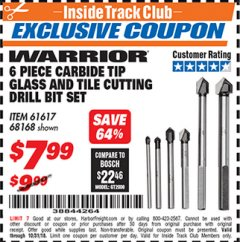 Harbor Freight ITC Coupon 6 PIECE CARBIDE TIP GLASS AND TILE CUTTING DRILL BIT SET Lot No. 68168/61617 Expired: 10/31/18 - $7.99