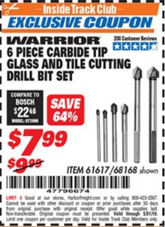 Harbor Freight ITC Coupon 6 PIECE CARBIDE TIP GLASS AND TILE CUTTING DRILL BIT SET Lot No. 68168/61617 Expired: 5/31/19 - $7.99