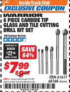 Harbor Freight ITC Coupon 6 PIECE CARBIDE TIP GLASS AND TILE CUTTING DRILL BIT SET Lot No. 68168/61617 Expired: 1/31/20 - $7.99