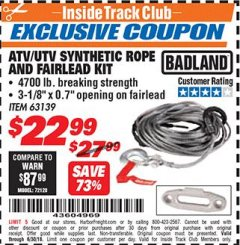 Harbor Freight ITC Coupon ATV/UTV SYNTHETIC ROPE AND FAIRLEAD KIT Lot No. 63139 Expired: 6/30/18 - $22.99