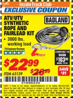 Harbor Freight ITC Coupon ATV/UTV SYNTHETIC ROPE AND FAIRLEAD KIT Lot No. 63139 Expired: 5/31/19 - $22.99