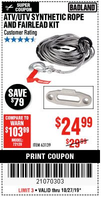 Harbor Freight Coupon ATV/UTV SYNTHETIC ROPE AND FAIRLEAD KIT Lot No. 63139 Expired: 10/27/19 - $24.99