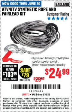 Harbor Freight Coupon ATV/UTV SYNTHETIC ROPE AND FAIRLEAD KIT Lot No. 63139 Expired: 6/30/20 - $24.99