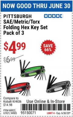 Harbor Freight Coupon SAE/METRIC/TORX FOLDING HEX KEY SET PACK OF 3 Lot No. 94905/60822/61921 EXPIRES: 6/30/20 - $4.99