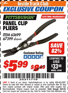 Harbor Freight ITC Coupon PANEL CLIP PLIERS Lot No. 63699/67399 Expired: 8/31/18 - $5.99