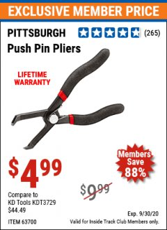 Harbor Freight ITC Coupon PANEL CLIP PLIERS Lot No. 63699/67399 Expired: 9/30/20 - $4.99