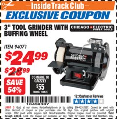 "Harbor Freight ITC Coupon 3"" TOOL GRINDER WITH BUFFING WHEEL Lot No. 94071 Expired: 4/30/19 - $24.99"
