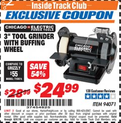 "Harbor Freight ITC Coupon 3"" TOOL GRINDER WITH BUFFING WHEEL Lot No. 94071 Expired: 8/31/19 - $24.99"