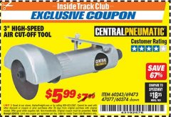 "Harbor Freight ITC Coupon 3"" HIGH SPEED AIR CUT-OFF TOOL Lot No. 47077/67425/69473/60243/60374 Expired: 6/30/18 - $5.99"